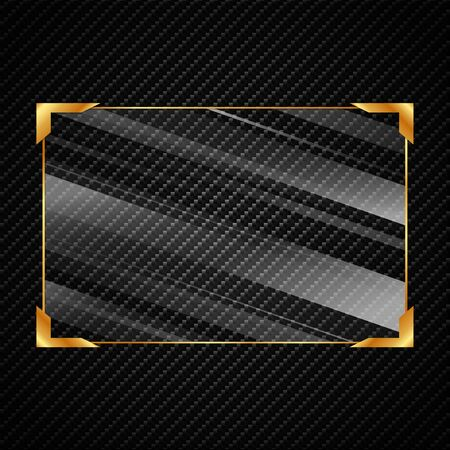 Illustration glassed golden rectangle frame isolated on black background - vector.