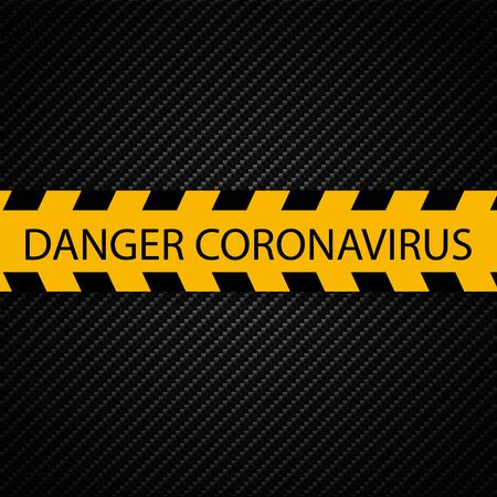 Coronavirus Attention warning tape. Perspective view. Epidemic barrage lines. Vector Illustration isolated on white background