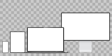 Realistic set of monitor, laptop, tablet, smartphone illustration. Mock up.