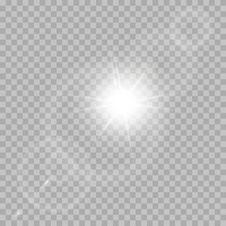 Explosion de lumière éclatante blanche avec transparent. Décoration à effet cool avec des étincelles de rayons.