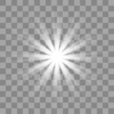 Explosión de explosión de luz blanca brillante con transparente. Decoración de efecto fresco con destellos de rayos.