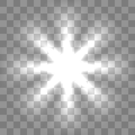 White glowing light burst explosion with transparent. Cool effect decoration with ray sparkles.