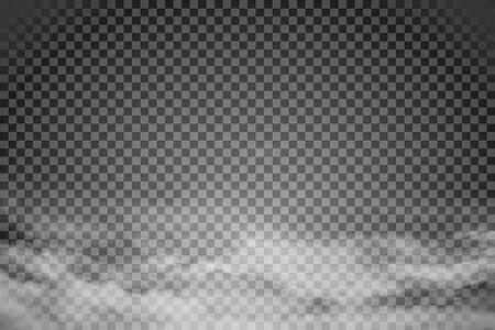 Smoke isolated on transparent background. Vector fog, vapor.
