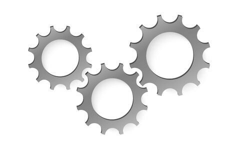 Three gear sign simple icon on background.