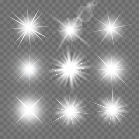 Glowing lights effect, flare, explosion and stars. Special effect isolated on transparent background.