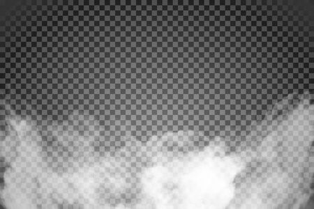White fog texture isolated on transparent background. Steam special effect. Realistic vector fire smoke or mist.