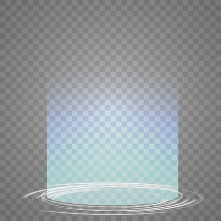 Magic portal of fantasy. Futuristic teleport. Light effect. Light rays of the night scene and sparks on a transparent background. Empty light effect of the podium. Vector Illustration