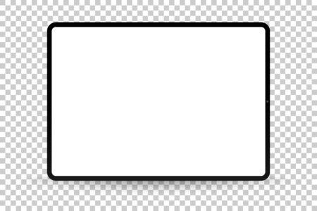 Almohadilla de dibujo realista plateada u002F blanca con pantalla transparente. Tableta escalable de 12,9 pulgadas. Maqueta de dispositivo muy detallada Ilustración de vector