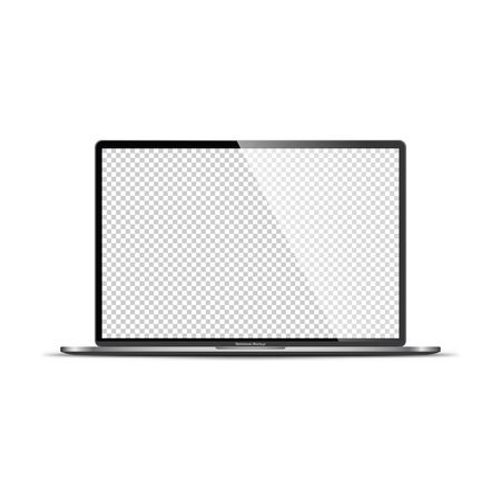 Realistic Darkgrey Notebook with Transparent Screen Isolated. 16 inch Laptop. Open Display. Can Use for Project, Presentation. Blank Device Mock Up. Separate Groups and Layers. Easily Editable Vector