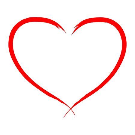 Ilustración de vector de corazón dibujado a mano - caligrafía.
