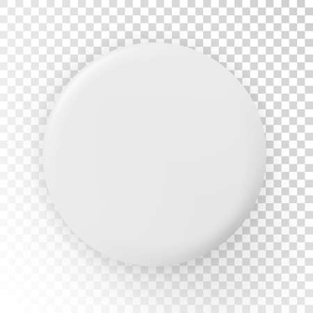 Realistic blank white badge - stock vector