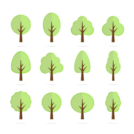 Tree icon set - cute trees cartoon illustration. Nature collection. Vettoriali