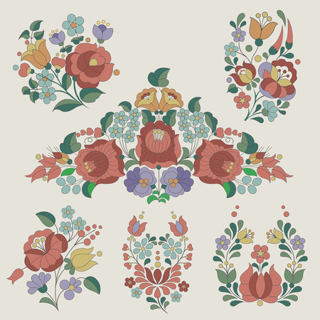 Hungarian traditional flowers decoration  Vector