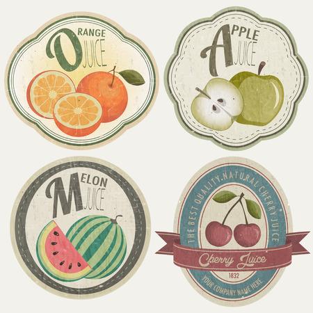 mermelada: Colección de etiquetas vintage con ilustraciones de frutas Vectores