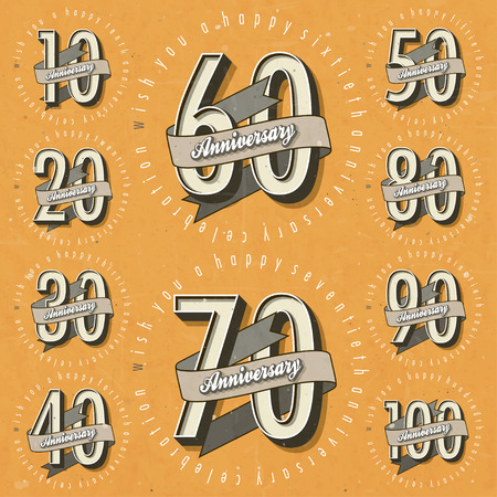 Anniversary sign collection and cards design in retro style   Ilustrace