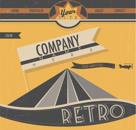 Website template in retro style  Vintage style creative web design   Vector