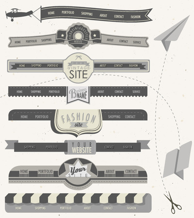 Website headers and navigation elements in vintage style  Retro web design and paper airplanes   Vector