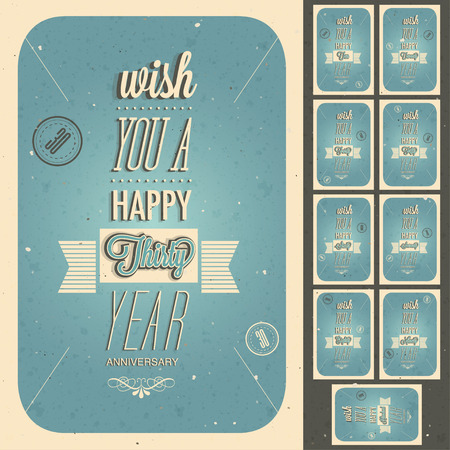 Vintage style anniversary design collection  Set of typographic inscriptions design for anniversary  Vector calligraphic anniversary cards design in retro style