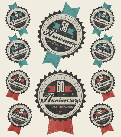 seal stamp: Anniversary sign collection and cards design in retro style  Template of anniversary, jubilee or birthday card with number editable  Vintage vector typography