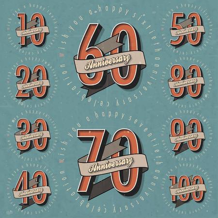 aniversario: Aniversario Colecci�n de la muestra y las tarjetas de dise�o en la plantilla de estilo retro de aniversario, jubileo o tarjeta de cumplea�os con el n�mero editable tipograf�a vector vintage