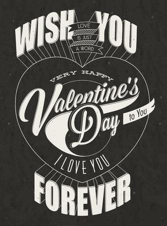 幸せのバレンタインの s 日のヴィンテージのレタリング スタイル バレンタインの日バレンタイン s ビンテージ タイポグラフィ デザイン デザイン