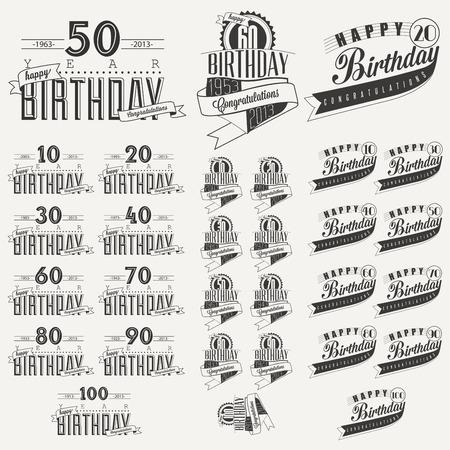 celebracion cumplea�os: Colecci�n Retro tarjeta de felicitaci�n de cumplea�os estilo vintage en dise�o caligr�fico caligraf�a Vintage y estilo tipogr�fico colecci�n hand lettering feliz cumplea�os Vector