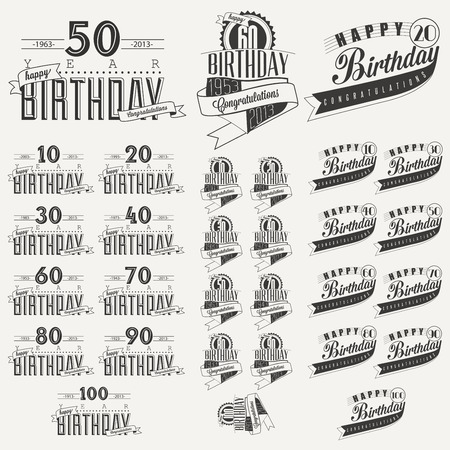 victorian anniversary: Retro Vintage style Birthday greeting card collection in calligraphic design  Vintage calligraphic and typographic style Happy Birthday hand lettering collection  Vector