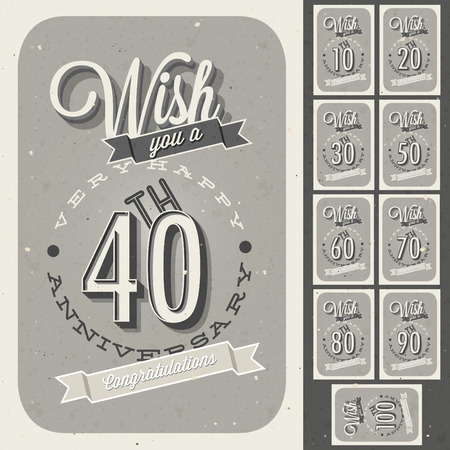 Anniversary sign collection and cards design in retro style  Template of anniversary, jubilee or birthday card with number editable  Vintage vector typography   Vector
