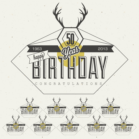 50 to 60: Retro Vintage style Birthday greeting card collection in calligraphic design  Vintage calligraphic and typographic style Happy Birthday lettering collection  Deer silhouette  Vector