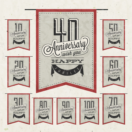 Retro Vintage style anniversary greeting card collection with calligraphic design  Template of anniversary, jubilee or birthday card  Hand Drawn calligraphic and typographic design   Vector