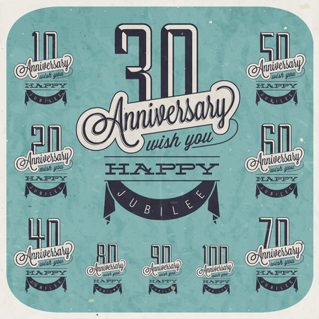 anniversary vintage: Retro Vintage style anniversary greeting collection in calligraphic design  Template of anniversary, jubilee or birthday card  Hand lettering calligraphic and typographic design  Blue grunge texture