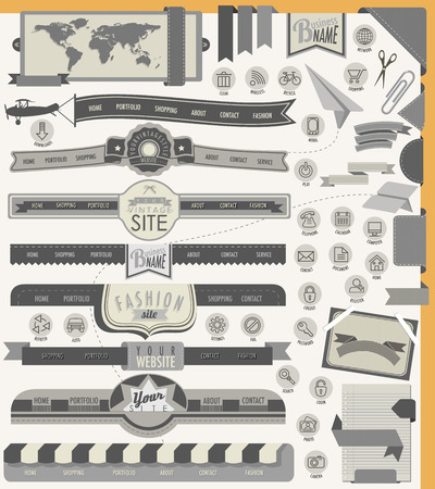 interface menu tool: Website headers and navigation elements  25 universal icons  Creative tool tips for retro vintage web design