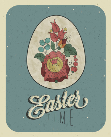 oldened: Vintage style Easter greeting card  Retro Easter postcard  Hand drawing style Easter egg with Hungarian traditional flowers  Grunge texture