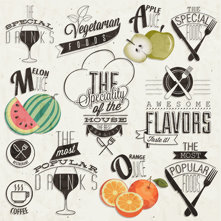 Retro vintage style restaurant menu designs  Set of Calligraphic titles and symbols for restaurant  Hand lettering restaurant menu design  Orange, melon and apple illustrations  Fast Food  Vector  Illustration