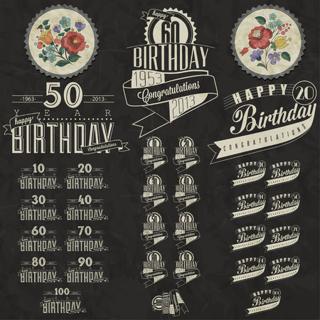 date of birth: Retro Vintage style Birthday greeting card collection in calligraphic design  Vintage calligraphic and typographic style Happy Birthday hand lettering collection  Vector  Hungarian flowers elements