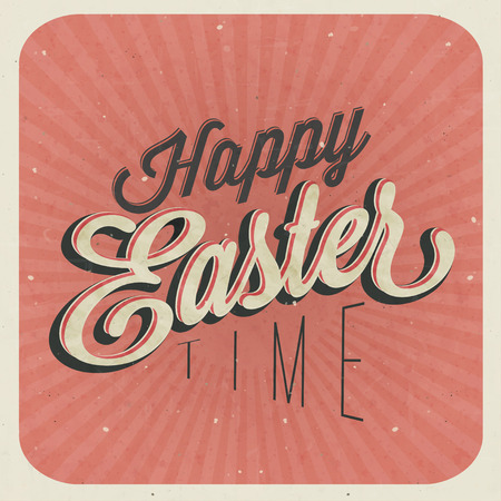 oldened: Happy Easter  Vintage style Easter greeting card  Retro Easter postcard  Hand lettering style Title  Calligraphic symbol for Easter  Grunge texture