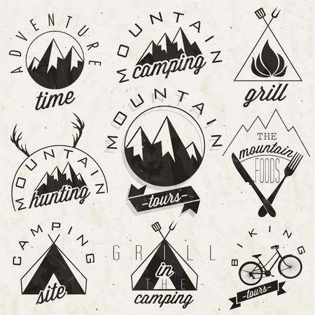 высокогорный: РЕТРО символы стиль для горных экспедиции Adventure, Горный кемпинг, горные Охота, горный тур, горы Foods, кемпинг, кемпинг гриль, велосипедные туры Mountain чувство Вектор