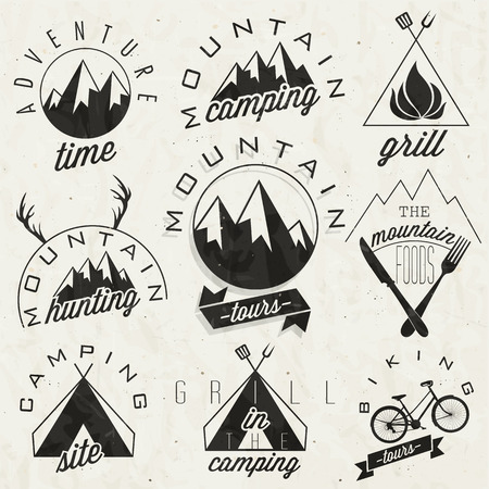 hunting season: Retro vintage style symbols for Mountain Expedition  Adventure, Mountain Camping, Mountain Hunting, Mountain Tour, Mountain Foods, Camping site, Camping Grill, Biking Tours  Mountain feeling  Vector