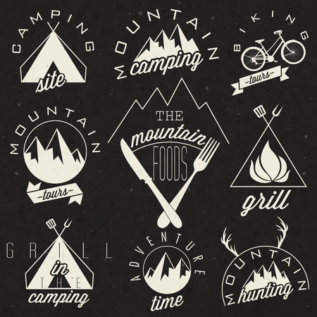 camping site: Retro vintage style symbols for Mountain Expedition  Adventure, Mountain Camping, Mountain Hunting, Mountain Tour, Mountain Foods, Camping site, Camping Grill, Biking Tours  Mountain feeling  Vector  Illustration