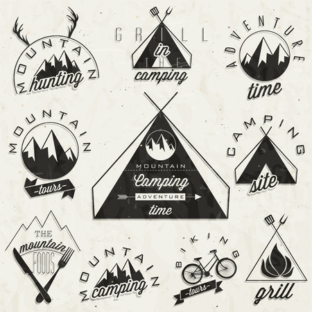 camping site: Retro vintage style symbols for Mountain Expedition  Adventure, Mountain Camping, Mountain Hunting, Mountain Tour, Mountain Foods, Camping site, Camping Grill, Biking Tours  Mountain feeling  Vector