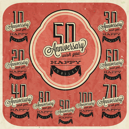 Retro Vintage style anniversary greeting card collection with calligraphic design  Template of anniversary, jubilee or birthday card  Hand lettering calligraphic and typographic design   Illustration