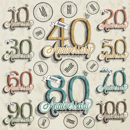 50 years anniversary: Retro Vintage style anniversary greeting card collection with calligraphic design  Template of anniversary, jubilee or birthday card  Hand lettering calligraphic and typographic design   Illustration