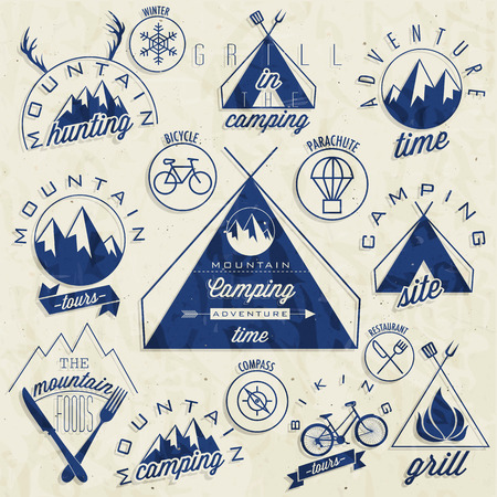 Retro vintage style symbols for Mountain Expedition  Adventure, Mountain Camping, Mountain Hunting, Mountain Tour, Mountain Foods, Camping site, Camping Grill, Biking Tours  Mountain feeling  Vector   Vector
