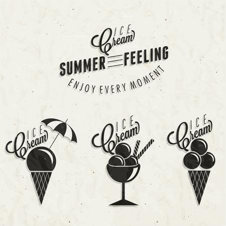 helado cucurucho: Diseño del helado del estilo retro de la vendimia Conjunto de títulos caligráficos y símbolos para ilustraciones estilo de letra tipo helado Mano de menú de postres y otros diseños de la comida