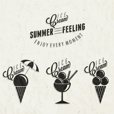 Retro vintage style Ice Cream design  Set of Calligraphic titles and symbols for Ice Cream type  Hand lettering style  Illustrations for dessert menu and other food designs   Vector