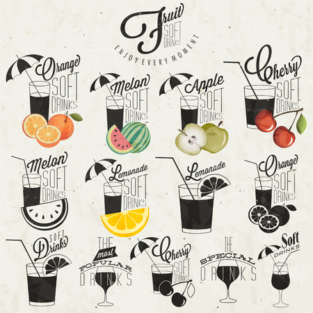 ice tea: Retro vintage style Soft Drinks design  Set of Calligraphic titles and symbols for Fruit Drinks type  Hand lettering style  Orange, Melon, Apple and Cherry illustrations  Typographic  Vector