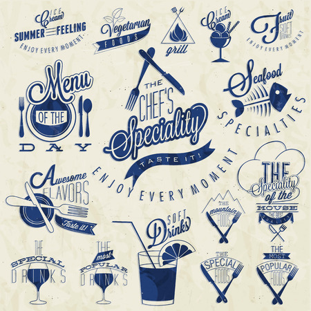 Retro vintage style restaurant menu designs  Set of Calligraphic titles and symbols for restaurant design  Hand lettering style calligraphy design  Ice Cream  Typographic  Fast Food  Vector