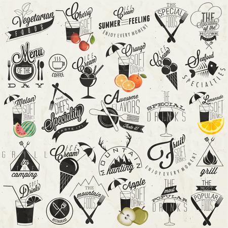 menu de postres: Menú del restaurante de estilo vintage retro diseña Conjunto de títulos y símbolos caligráficos estilo de las letras de la mano Food Fast Orange, melón, manzana y cereza ilustraciones Helados tipográfico vectoriales