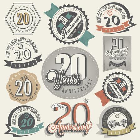 aniversario de bodas: 20 aniversario de la colecci�n de dise�o Vig�simo aniversario de la vendimia en las etiquetas de la vendimia del estilo retro de estilo de las letras de la mano saludo aniversario s�mbolos tipogr�ficos y caligr�ficos para el 20 aniversario