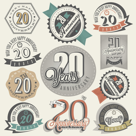 Vintage 20 anniversary collection  Twenty anniversary design in retro style  Vintage labels for anniversary greeting  Hand lettering style typographic and calligraphic symbols for 20 anniversary